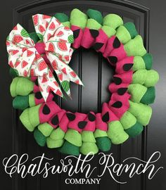 Watermelon Burlap Wreath - Summertime Picnic - Summer Spring Springtime Chatsworth Ranch Chic Everyday Wreath All Year Wreath Wreath Crafts, Diy Wreath, Diy Crafts, Wreath Ideas, Tulle Crafts, Wreath Burlap, Deco Mesh Wreaths, Door Wreaths, Burlap Wreaths For Front Door