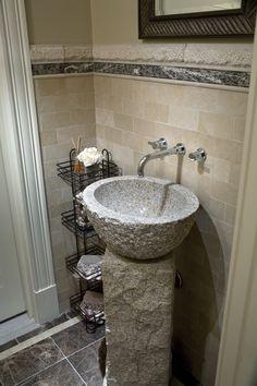 MDK Design Associates Mdkdesigns.com. Stone Inspired Powder Room With  Vessel Sink.