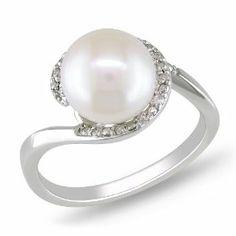 10k White Gold 1/10 CT TDW Diamond FW White Pearl Fashion Ring (G-H, I2-I3) Amour. $281.99
