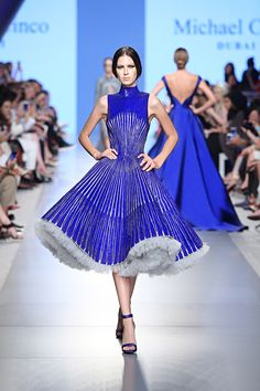 Spring Summer 2018 - MICHAEL CINCO Michael Cinco Couture, Blue Dresses, Short Dresses, Fantasy Hair, Fantasy Makeup, High Fashion Makeup, Full Length Gowns, Slit Dress, Event Dresses