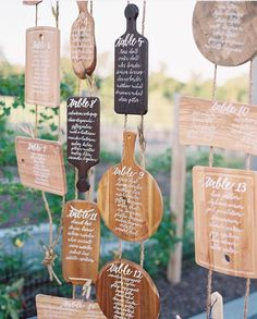 Cutting boards with calligraphy for table assignments