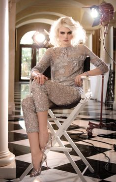 Oscar de la Renta ailver bead and lamé mousseline embroidered tunic and pants from Great Gatsby-inspired fashion editorial. Photo by Gian Andrea Di Stefano