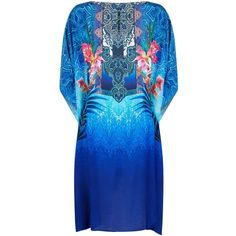 Gottex Oahu Silk Kaftan (8,725 MXN) ❤ liked on Polyvore featuring tops, tunics, holiday tops, boatneck tunic, evening tunics, silk top and blue floral top