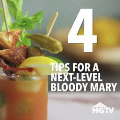 HGTV shares four ways to spice up a Bloody Mary. Bloody Mary Cocktail Recipe, Bloody Mary Bar, Bloody Mary Recipes, Cocktail Recipes, Beer Recipes, Alcohol Recipes, Recipies, Vodka Lime, Infused Vodka
