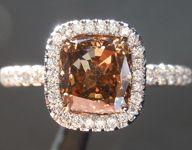 Brown Diamond Ring: 1.43ct Fancy Orange Brown VS2 Cushion Modified Brilliant Diamond Halo Ring GIA R6763