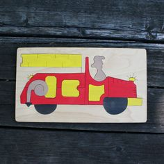 Firetruck Wooden Puzzle - great gift for the little hero in your life!