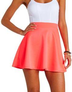 Neon High-Waisted Skater Skirt