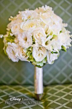 My purple wedding - Beautiful garden rose and hydrangea green and white bouquet - white/green rose & hydrangea