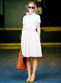 White button down + skirt + sunglasses