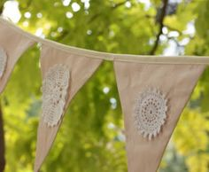 Peach and Vintage Crochet Bunting