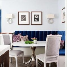 Sapphire Blue Velvet Dining Banquette with Bungalow 5 Stockholm Center Dining Table