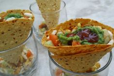 Masala papad cones is a very very simple and quick Indian snack recipe. All Indian homes have 1 or more types of papad at home so this is a very interesting twist… - Masala Papad Cones (Indian Snack) Indian Appetizers, Appetizer Recipes, Snack Recipes, Rice Recipes, Party Recipes, Breakfast Recipes, Dinner Recipes, Quick Indian Snacks, Quick Snacks