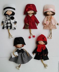Items similar to Doll brooch on Etsy - Her Crochet Doll Crafts, Diy Doll, Sewing Crafts, Sewing Projects, Felt Doll Patterns, Needle Felting Tutorials, Felt Brooch, Brooch Pin, Clothespin Dolls