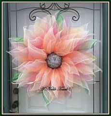 Deco Mesh Flower Wreath, Summer Wreath, Spring Wreath, Front Door Wreath, with Faux Green and Pink Gems in the Center by A Noble Touch Deco Mesh Crafts, Wreath Crafts, Diy Wreath, Tulle Wreath, Wreath Ideas, Deco Mesh Wreaths, Holiday Wreaths, Burlap Wreaths, Ribbon Wreaths