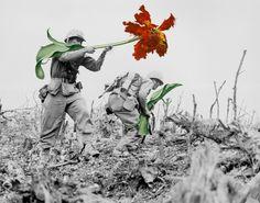 Faça arte, não faça guerra: artista troca armas por flores em fotos históricas.  ArtistaFrancês Mister Blick