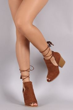 755a6f6504d Qupid Fringe Tassel Lace Up Slit Booties Ankle Booties