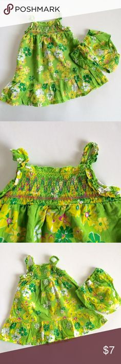 Genuine Kids Dress & Bloomers Adorable green/yellow/white sleeveless dress & matching bloomers. Love the Hawaiian floral print and smocked bodice. No stains or holes. Genuine Kids Dresses
