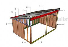 This step by step woodworking project is about lean to shed roof plans. This is the PART 2 of the lean to shed project, where I sow you how to build the roof and how to attach the siding to the rest of the walls. Lean To Shed, Run In Shed, Build Your Own Shed, Diy Shed Plans, Storage Shed Plans, Storage Building Plans, Backyard Sheds, Outdoor Sheds, Outdoor Gardens