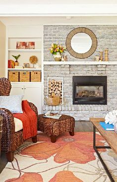 Lighten a dark brick fireplace with whitewash. Thin white paint more or less to adjust the color. --Lowe's Creative Ideas