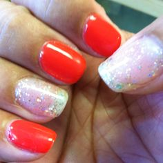 Gelish in Tiger Blossom, Glitter nails in Grand Jewel.