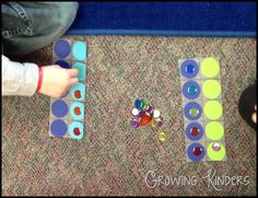 """10 frame game - students roll a dice (labeled with stickers reading 2 etc."""") then add or take away bingo chips on their 10 frame. First to reach 10 wins. Numbers Kindergarten, Kindergarten Math Activities, Math Numbers, Preschool Math, Math Classroom, Fun Math, Math Games, Teaching Math, Counting Activities"""