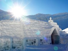 Only accessible via able car in the winter, this ice church is located in Romania at the Balea Lake Ice Hotel.