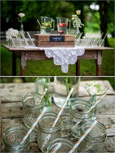 easy drink station idea #drinks #mason jars http://www.weddingchicks.com/2013/11/05/music-themed-wedding/