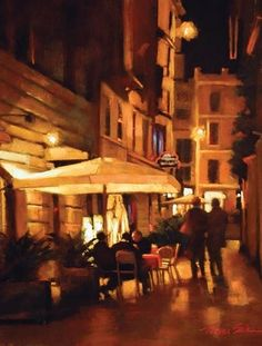Late Night Stroll, Rome by Teresa Saia Pastel
