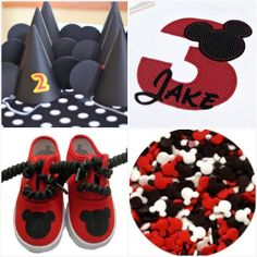 Mickey Mouse Birthday Party ideas - if you get them some plain white Keds, I could make Mickey shoes for them very easily =)