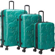 IT Luggage Skull Emboss 3 Pc Spinner Luggage Set Hardside Luggage NEW