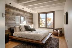 wood wall in bedroom - Google Search