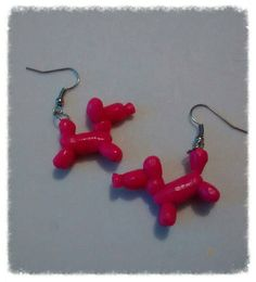 Polymer clay pink balloon dog earrings fimo jewelry