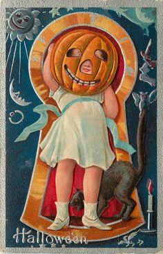 Halloween Keyhole Series 1911 Girl Jack o Lantern Head