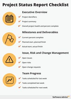 Project Status Report Checklist - Software Advice - This checklist highlights the most important information to include in your weekly project status report so you never miss a thing.