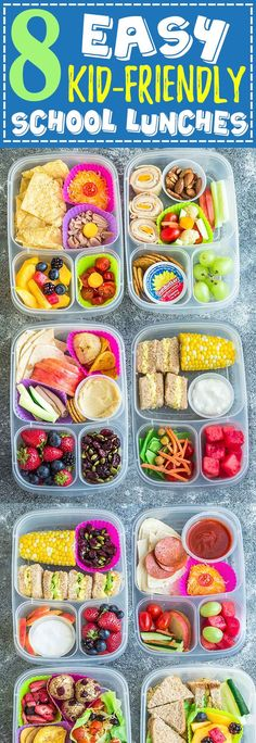 8 Easy, Healthy and Delicious Lunches for Back To School. With tons of ideas along with options for nut free, dairy free and gluten free choices. There is something for even picky eaters who will want to finish their food with no leftovers. Perfect for adults too who are looking for recipes and ideas other than sandwiches to bring to work along with tips on how to be more efficient when packing lunch boxes. Kids Lunch For School, Pack Lunch Ideas For Adults, Lunch Kids, Toddler Lunches, Lunch Ideas For Work, Adult Lunch Box, Lunch Box Bento, Snack Box, Lunch Snacks