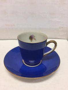 VICTORIA CZECHOSLOVAKIA 253  BLUE DEMITASSE CUP & SAUCER GOLD TRIM FLORAL