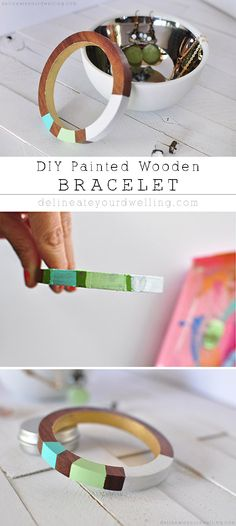 Easy DIY Painted Wooden Bracelet, the perfect statement jewelry piece and so simple to create! Delineateyourdwelling.com