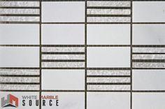 Polished Bianco Sivec Extra & Woodengrey Pier 2 Mosaic (THW-030)  www.whitemarblesource.com  #WhiteMarbleSource #white #marble #mosaics #tiles #stone #naturalstone #interiorfinishes #interiordesign #art #architecture #design #projects #ideas #luxury #materials #biancosivec #backsplash #whitetiles #inspirational