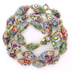 Vintage Venetian Moretti Millefiori Rainbow Graduated KnottedGlass Bead Necklace   Clarice Jewellery   Vintage Costume Jewellery