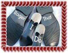 e no sapato do noivo também cabe um recadinho!