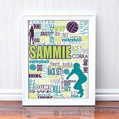 Volleyball Print, Personalized Volleyball Typography Print - 16 x 20, via Etsy.