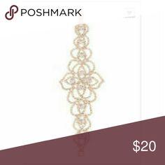 """Gold Rhinestone Floral Pattern Bracelet Gold rhinestone bracelet. Floral pattern. Latch closure. 2"""" wide. Jewelry Bracelets"""