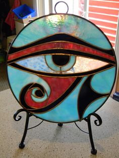 Eye of Ra Egyptian Stained Glass Panel