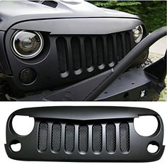 Sunluway Front Grille Inserts Guard Grill Trim Cover /& Headlight Covers Ring Trim for 2018 2019 Jeep Wrangler JL Sport//Sports