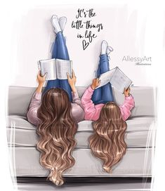 portrait illustration Mother and daughte - portrait Best Friend Drawings, Girly Drawings, Image Girly, Mother And Daughter Drawing, Mother Daughters, Daddy Daughter, Mother Son, Mothers Day Drawings, Baby Girl Drawing
