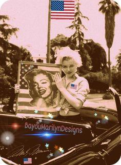 Marilyn Monroe Red White & Blue Flag
