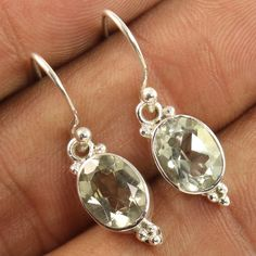 925 Sterling Silver Natural GREEN AMETHYST Faceted Gemstone Fashionable Earrings #Unbranded #DropDangle