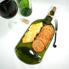 Large Green Gold Wine Bottle Flat Serving Tray with Cork and Raffia - Recycled Eco-Friendly on Etsy, $23.00