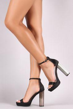 Shoe Republic LA Satin Ankle Strap Chunky Metallic Platform Heel