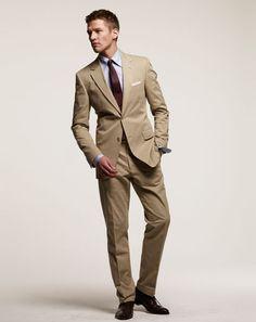 Korean Style Men Long Sleeve One Button Khaki Cotton Suit M/L/XL